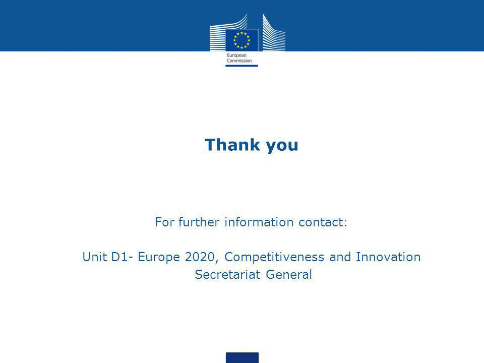 Thank you For further information contact: Unit D1- Europe 2020, Competitiveness and Innovation Secretariat General