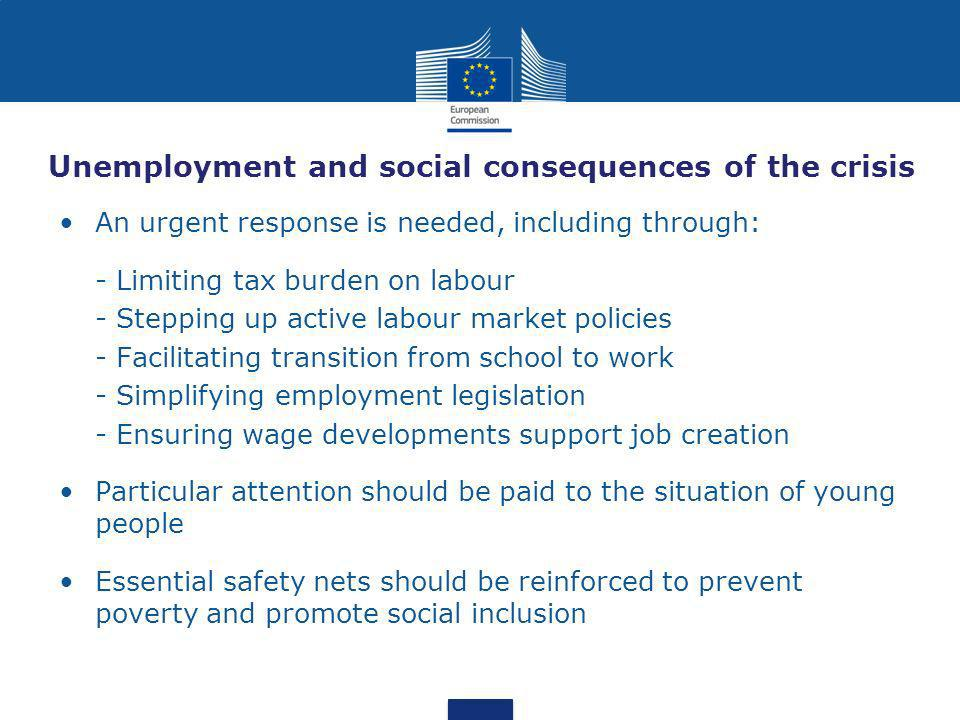 Unemployment and social consequences of the crisis An urgent response is needed, including through: - Limiting tax burden on labour - Stepping up active labour market policies - Facilitating transition from school to work - Simplifying employment legislation - Ensuring wage developments support job creation Particular attention should be paid to the situation of young people Essential safety nets should be reinforced to prevent poverty and promote social inclusion
