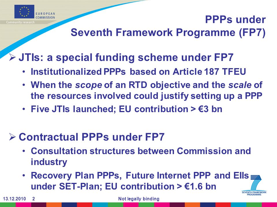 Not legally binding PPPs under Seventh Framework Programme (FP7) JTIs: a special funding scheme under FP7 Institutionalized PPPs based on Article 187 TFEU When the scope of an RTD objective and the scale of the resources involved could justify setting up a PPP Five JTIs launched; EU contribution > 3 bn Contractual PPPs under FP7 Consultation structures between Commission and industry Recovery Plan PPPs, Future Internet PPP and EIIs under SET-Plan; EU contribution > 1.6 bn