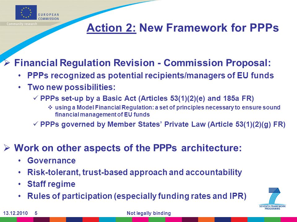 Not legally binding Action 2: New Framework for PPPs Financial Regulation Revision - Commission Proposal: PPPs recognized as potential recipients/managers of EU funds Two new possibilities: PPPs set-up by a Basic Act (Articles 53(1)(2)(e) and 185a FR) using a Model Financial Regulation: a set of principles necessary to ensure sound financial management of EU funds PPPs governed by Member States Private Law (Article 53(1)(2)(g) FR) Work on other aspects of the PPPs architecture: Governance Risk-tolerant, trust-based approach and accountability Staff regime Rules of participation (especially funding rates and IPR)
