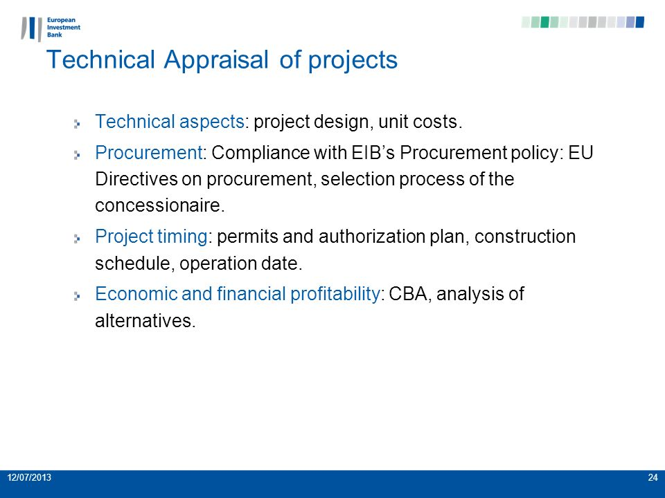 Technical aspects: project design, unit costs.