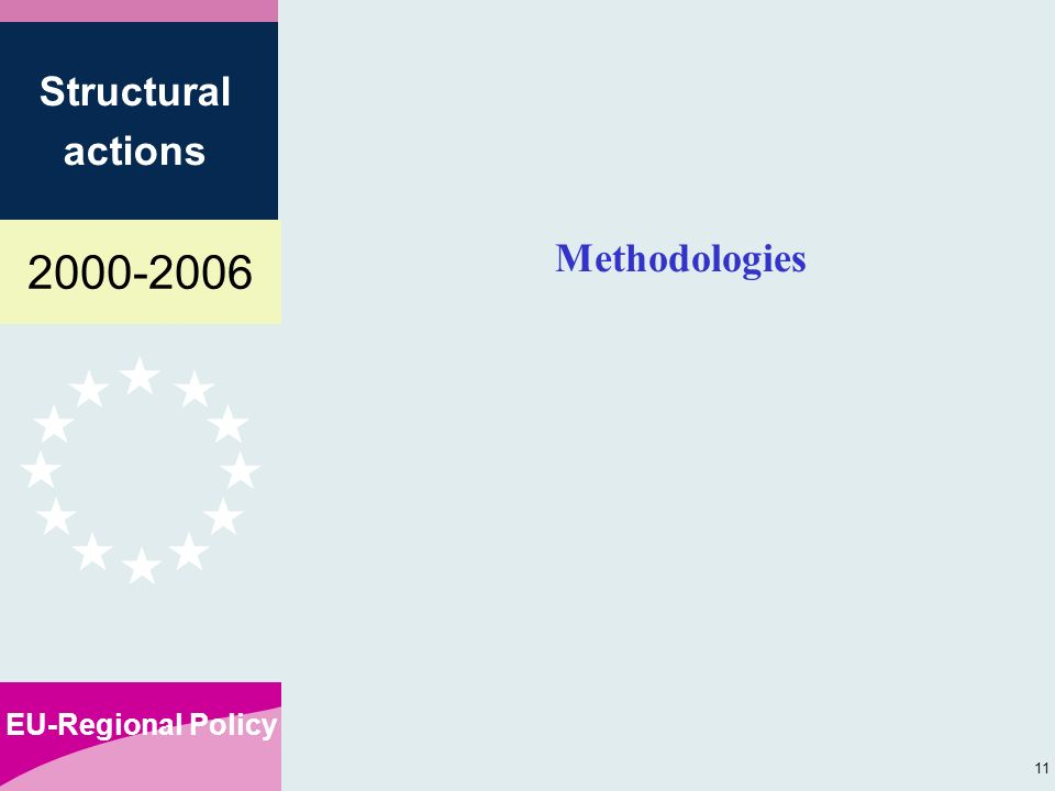 EU-Regional Policy Structural actions 11 Methodologies