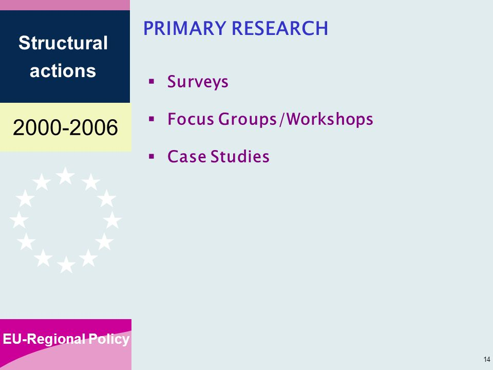 EU-Regional Policy Structural actions 14 PRIMARY RESEARCH Surveys Focus Groups/Workshops Case Studies
