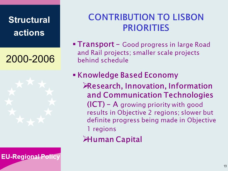 EU-Regional Policy Structural actions 19 CONTRIBUTION TO LISBON PRIORITIES Transport – Good progress in large Road and Rail projects; smaller scale projects behind schedule Knowledge Based Economy Research, Innovation, Information and Communication Technologies (ICT) – A growing priority with good results in Objective 2 regions; slower but definite progress being made in Objective 1 regions Human Capital