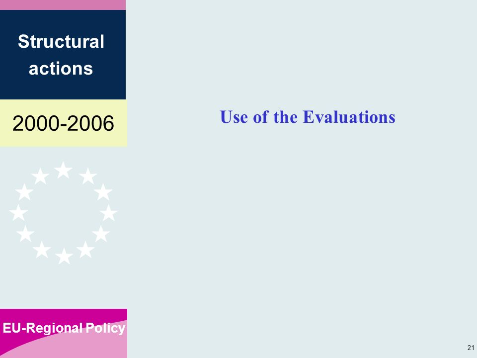 EU-Regional Policy Structural actions 21 Use of the Evaluations