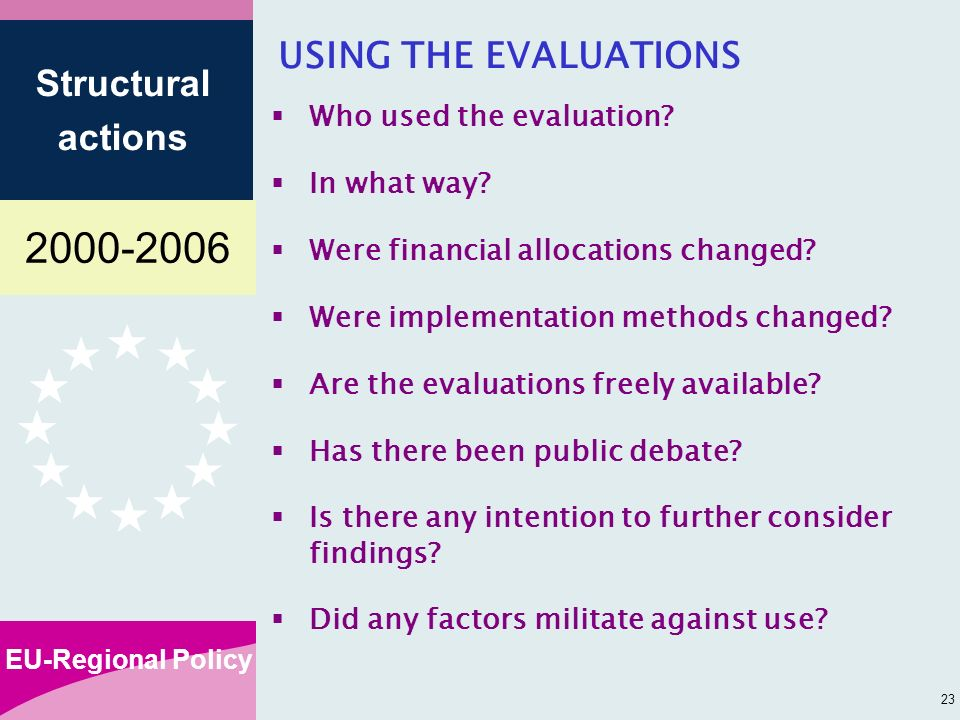 EU-Regional Policy Structural actions 23 USING THE EVALUATIONS Who used the evaluation.