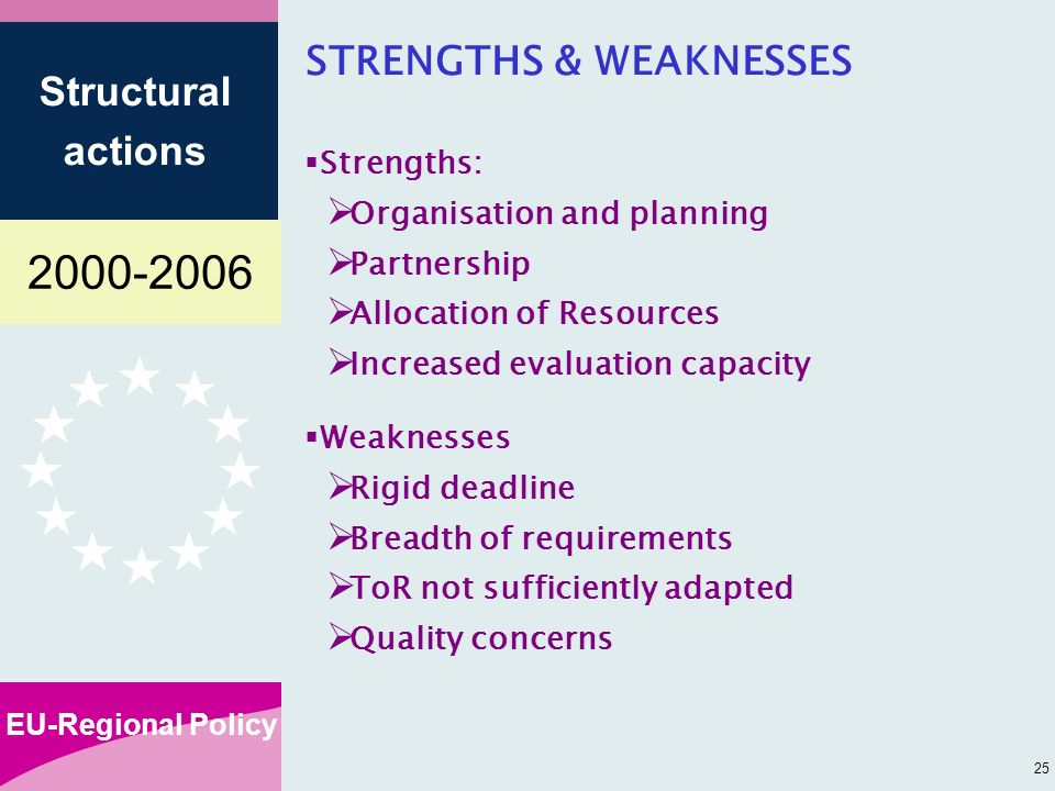 EU-Regional Policy Structural actions 25 STRENGTHS & WEAKNESSES Strengths: Organisation and planning Partnership Allocation of Resources Increased evaluation capacity Weaknesses Rigid deadline Breadth of requirements ToR not sufficiently adapted Quality concerns