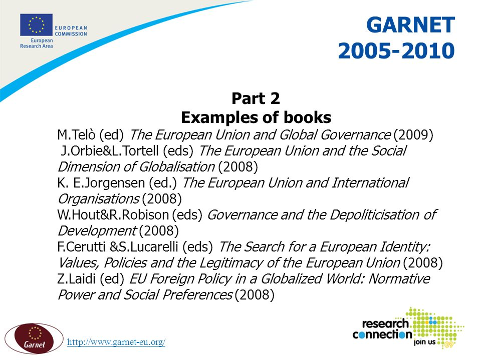 13 16/02/2014 GARNET 2005-2010 Part 2 Examples of books M.Telò (ed) The European Union and Global Governance (2009) J.Orbie&L.Tortell (eds) The European Union and the Social Dimension of Globalisation (2008) K.