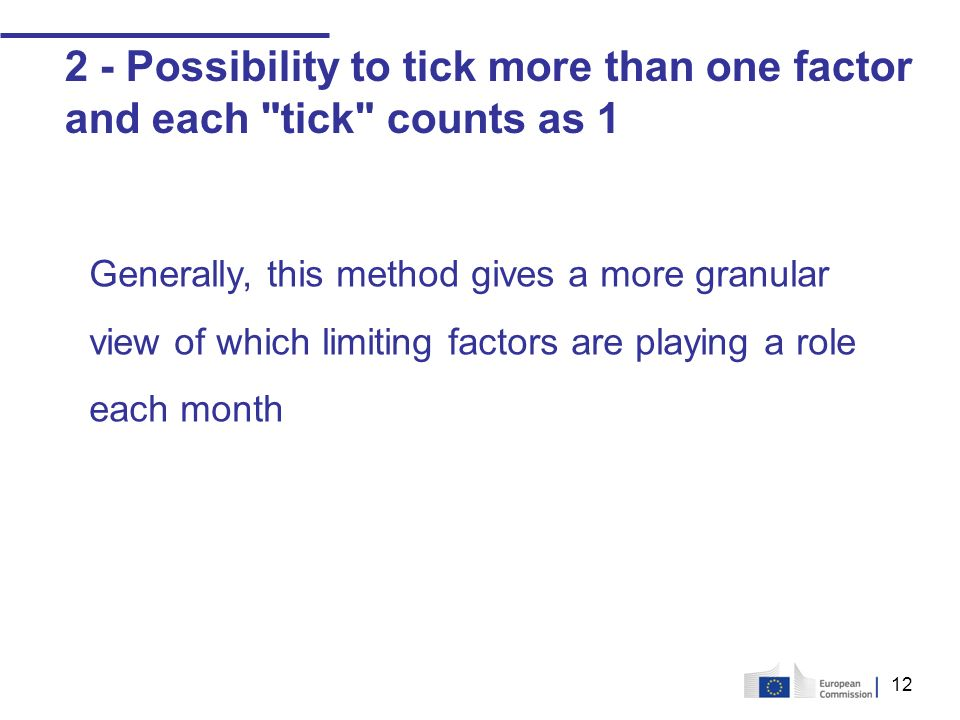 12 2 - Possibility to tick more than one factor and each tick counts as 1 Generally, this method gives a more granular view of which limiting factors are playing a role each month