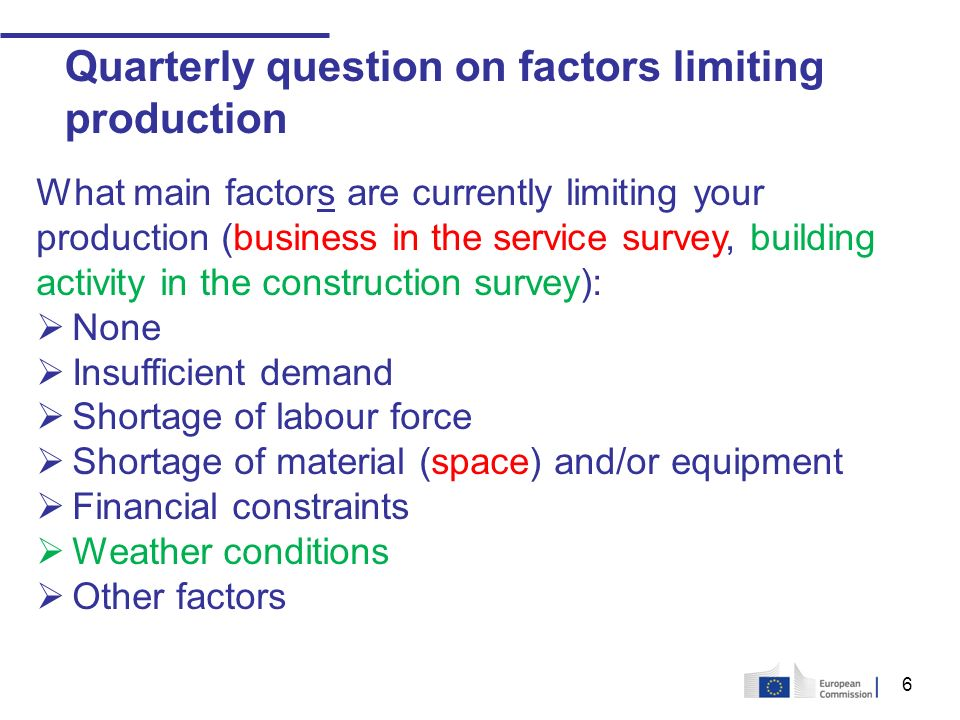 6 Quarterly question on factors limiting production What main factors are currently limiting your production (business in the service survey, building activity in the construction survey): None Insufficient demand Shortage of labour force Shortage of material (space) and/or equipment Financial constraints Weather conditions Other factors