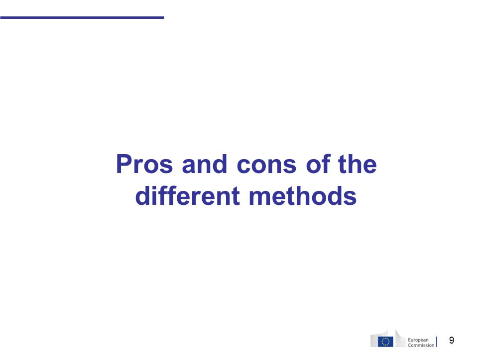 9 Pros and cons of the different methods