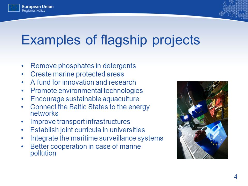 4 Examples of flagship projects Remove phosphates in detergents Create marine protected areas A fund for innovation and research Promote environmental technologies Encourage sustainable aquaculture Connect the Baltic States to the energy networks Improve transport infrastructures Establish joint curricula in universities Integrate the maritime surveillance systems Better cooperation in case of marine pollution