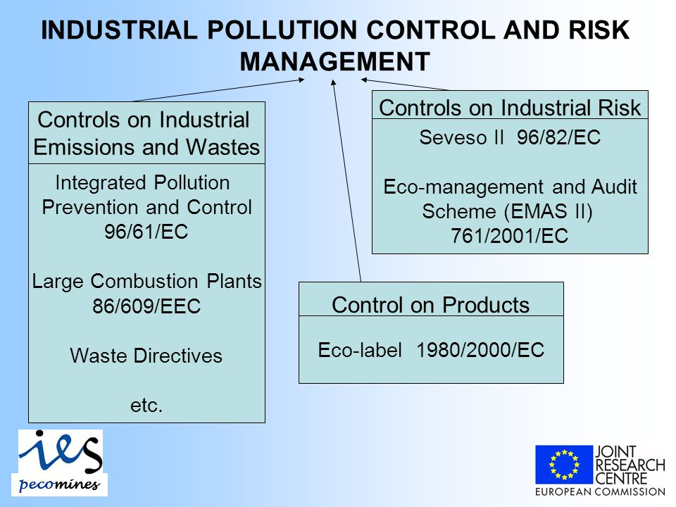 INDUSTRIAL POLLUTION CONTROL AND RISK MANAGEMENT pecomines Controls on Industrial Emissions and Wastes Integrated Pollution Prevention and Control 96/61/EC Large Combustion Plants 86/609/EEC Waste Directives etc.