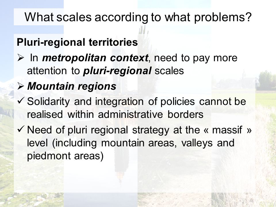 What scales according to what problems.