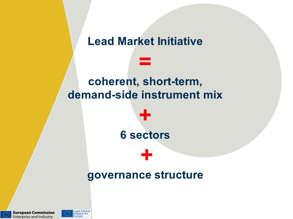 Lead Market Initiative = coherent, short-term, demand-side instrument mix + 6 sectors + governance structure