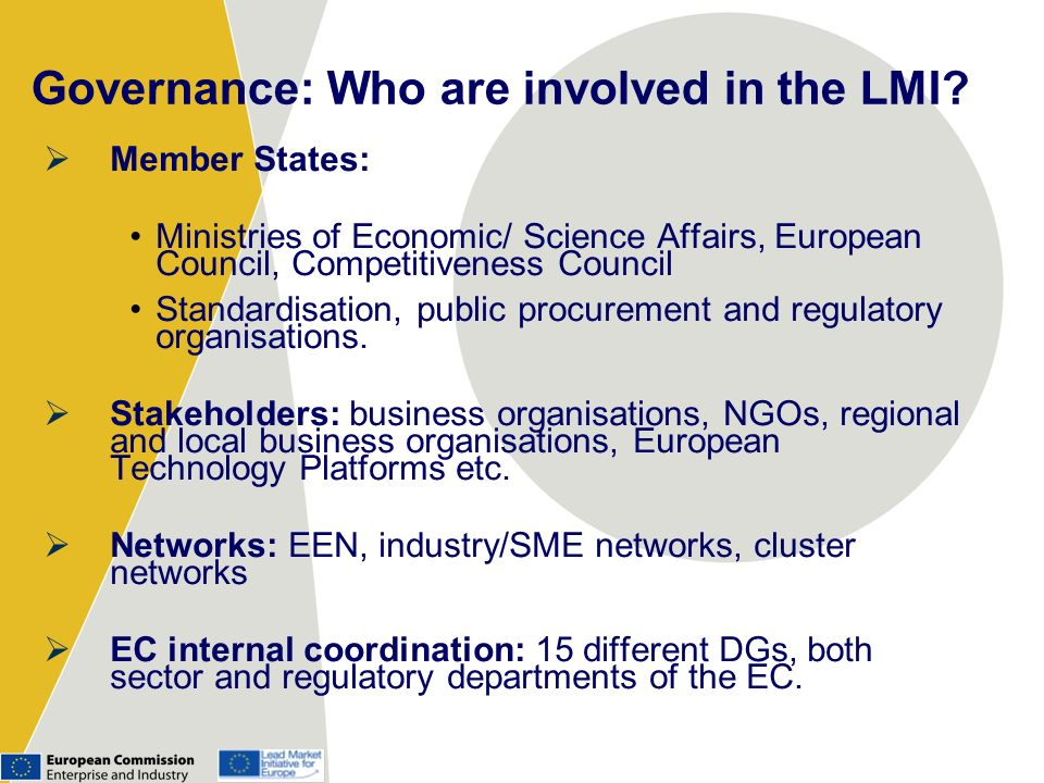 Governance: Who are involved in the LMI.
