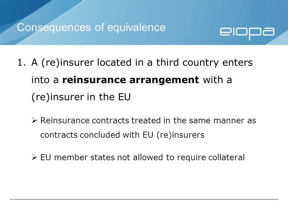 Consequences of equivalence 1.A (re)insurer located in a third country enters into a reinsurance arrangement with a (re)insurer in the EU Reinsurance contracts treated in the same manner as contracts concluded with EU (re)insurers EU member states not allowed to require collateral