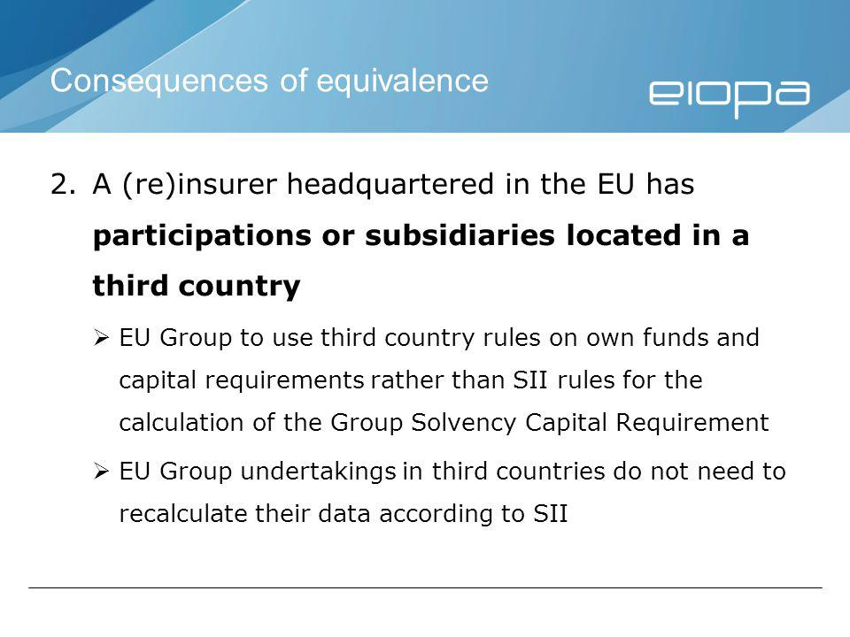 Consequences of equivalence 2.A (re)insurer headquartered in the EU has participations or subsidiaries located in a third country EU Group to use third country rules on own funds and capital requirements rather than SII rules for the calculation of the Group Solvency Capital Requirement EU Group undertakings in third countries do not need to recalculate their data according to SII