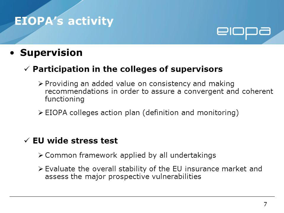 7 EIOPAs activity Supervision Participation in the colleges of supervisors Providing an added value on consistency and making recommendations in order to assure a convergent and coherent functioning EIOPA colleges action plan (definition and monitoring) EU wide stress test Common framework applied by all undertakings Evaluate the overall stability of the EU insurance market and assess the major prospective vulnerabilities