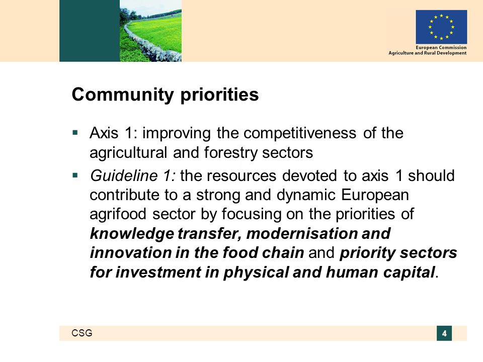 CSG 4 Community priorities Axis 1: improving the competitiveness of the agricultural and forestry sectors Guideline 1: the resources devoted to axis 1 should contribute to a strong and dynamic European agrifood sector by focusing on the priorities of knowledge transfer, modernisation and innovation in the food chain and priority sectors for investment in physical and human capital.