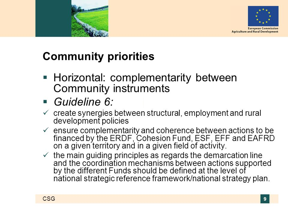 CSG 9 Community priorities Horizontal: complementarity between Community instruments Guideline 6: create synergies between structural, employment and rural development policies ensure complementarity and coherence between actions to be financed by the ERDF, Cohesion Fund, ESF, EFF and EAFRD on a given territory and in a given field of activity.