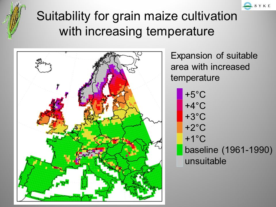 Suitability for grain maize cultivation with increasing temperature +5°C +4°C +3°C +2°C +1°C baseline ( ) unsuitable Expansion of suitable area with increased temperature
