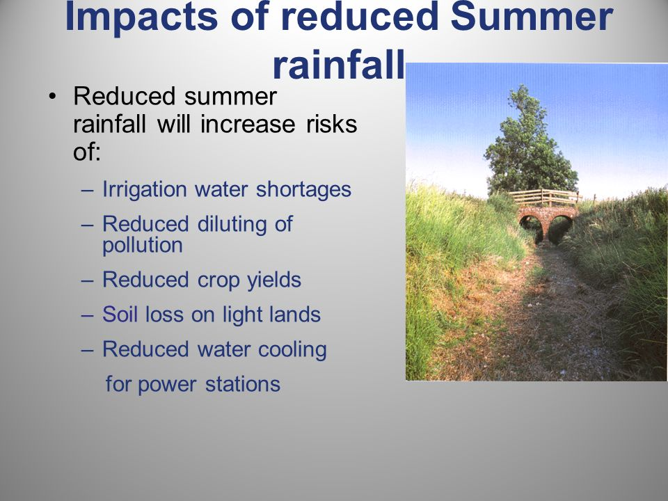 Reduced summer rainfall will increase risks of: –Irrigation water shortages –Reduced diluting of pollution –Reduced crop yields –Soil loss on light lands –Reduced water cooling for power stations Impacts of reduced Summer rainfall