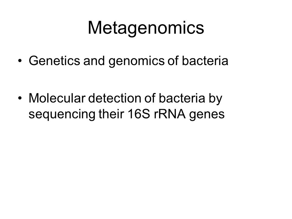 Metagenomics Genetics and genomics of bacteria Molecular detection of bacteria by sequencing their 16S rRNA genes