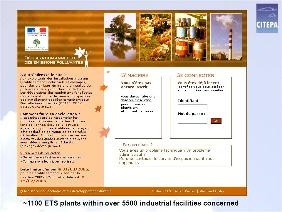 ~1100 ETS plants within over 5500 industrial facilities concerned