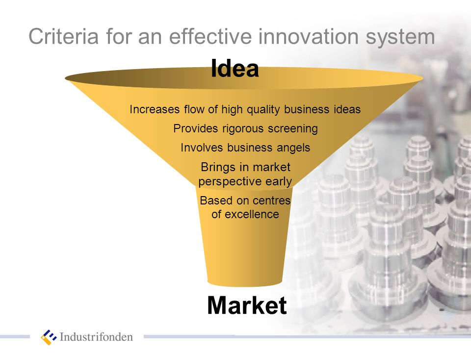 Market Criteria for an effective innovation system Idea Increases flow of high quality business ideas Provides rigorous screening Involves business angels Brings in market perspective early Based on centres of excellence