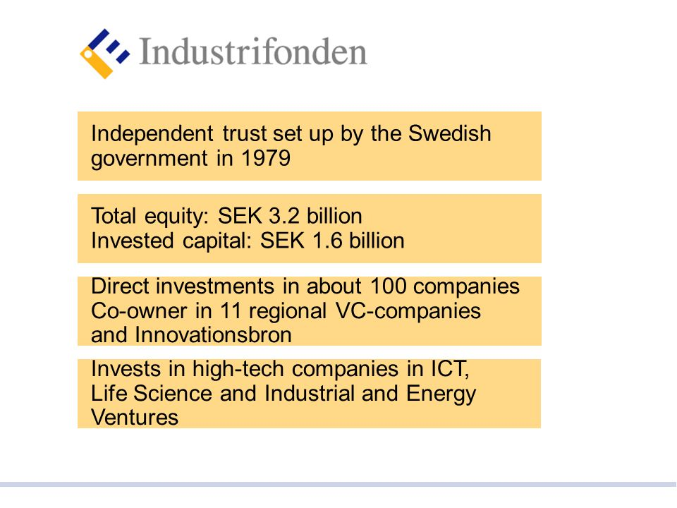 Invests in high-tech companies in ICT, Life Science and Industrial and Energy Ventures Direct investments in about 100 companies Co-owner in 11 regional VC-companies and Innovationsbron Independent trust set up by the Swedish government in 1979 Total equity: SEK 3.2 billion Invested capital: SEK 1.6 billion