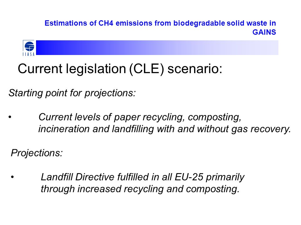 Estimations of CH4 emissions from biodegradable solid waste in GAINS Current legislation (CLE) scenario: Starting point for projections: Current levels of paper recycling, composting, incineration and landfilling with and without gas recovery.