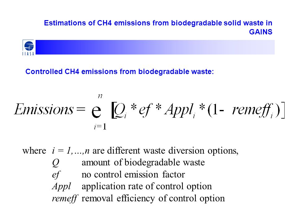 Estimations of CH4 emissions from biodegradable solid waste in GAINS Controlled CH4 emissions from biodegradable waste: wherei = 1,…,n are different waste diversion options, Qamount of biodegradable waste efno control emission factor Applapplication rate of control option remeffremoval efficiency of control option