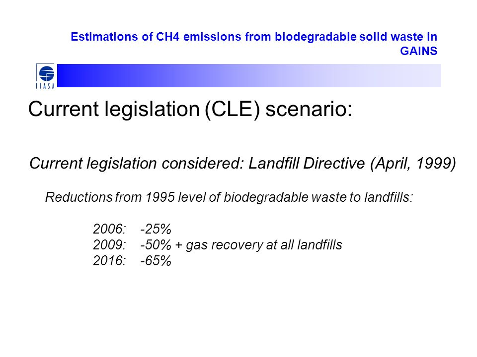 Estimations of CH4 emissions from biodegradable solid waste in GAINS Current legislation (CLE) scenario: Current legislation considered: Landfill Directive (April, 1999) Reductions from 1995 level of biodegradable waste to landfills: 2006:-25% 2009:-50% + gas recovery at all landfills 2016:-65%
