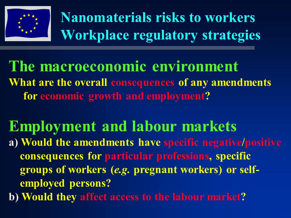 Nanomaterials risks to workers Workplace regulatory strategies The macroeconomic environment What are the overall consequences of any amendments for economic growth and employment.