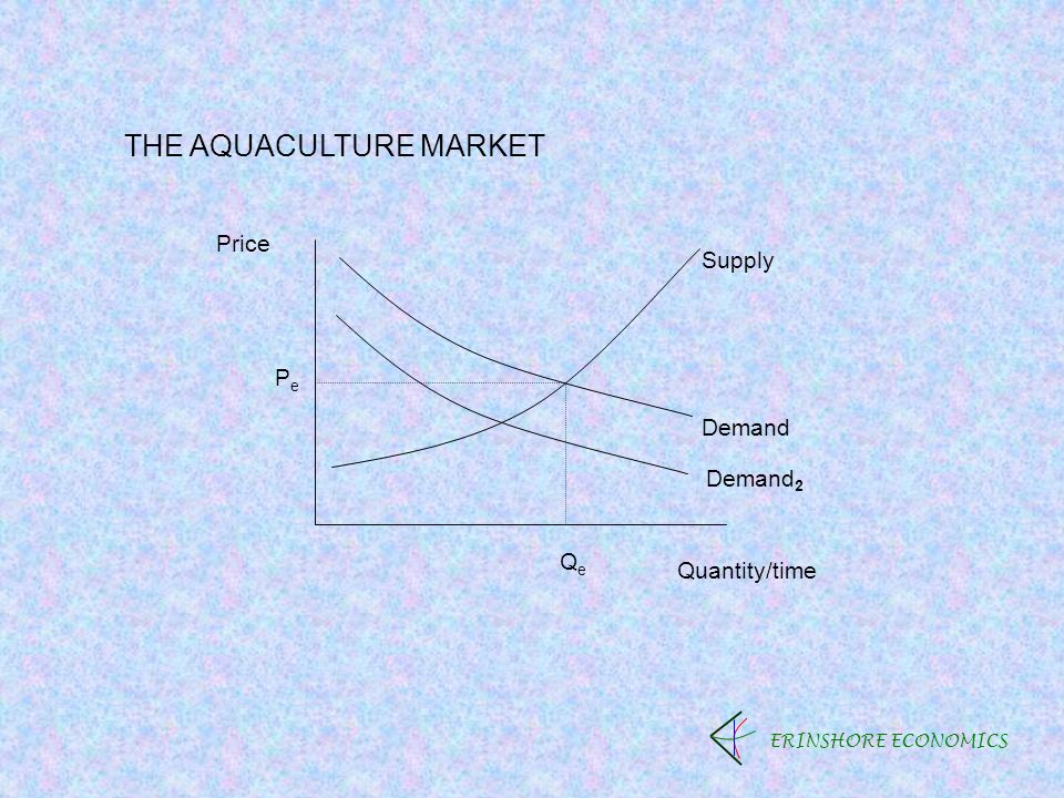ERINSHORE ECONOMICS THE AQUACULTURE MARKET Price Quantity/time PePe QeQe Demand Supply Demand 2
