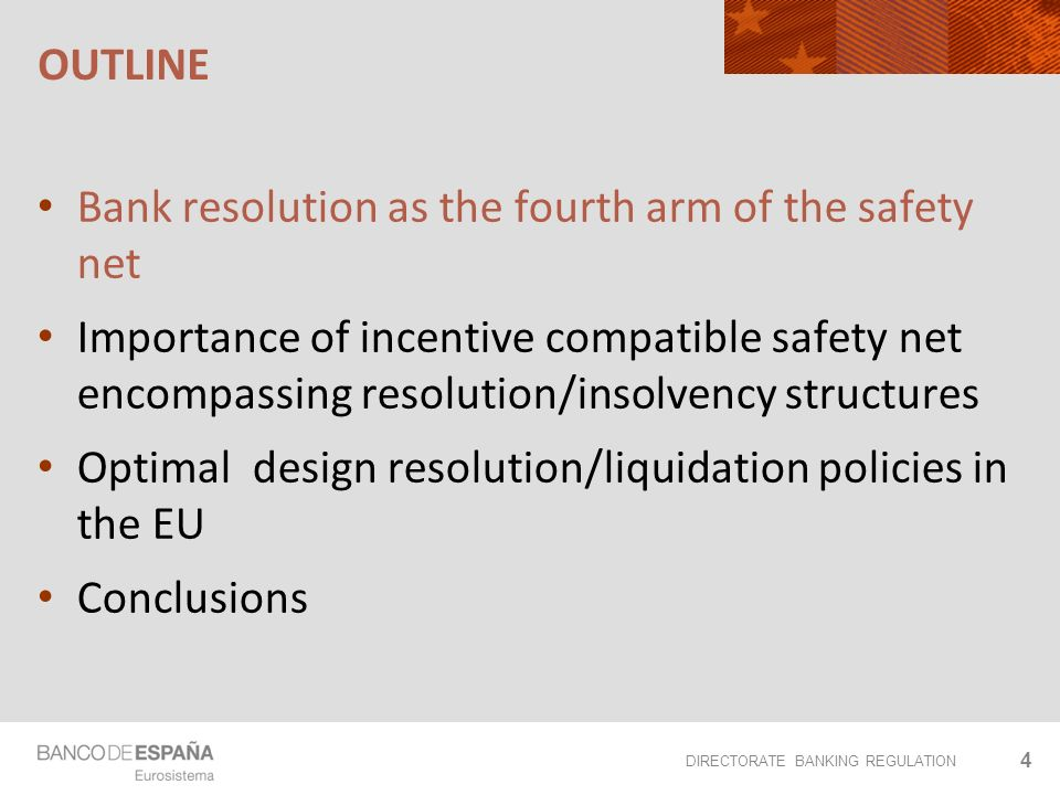 DIRECTORATE BANKING REGULATION OUTLINE 4 Bank resolution as the fourth arm of the safety net Importance of incentive compatible safety net encompassing resolution/insolvency structures Optimal design resolution/liquidation policies in the EU Conclusions