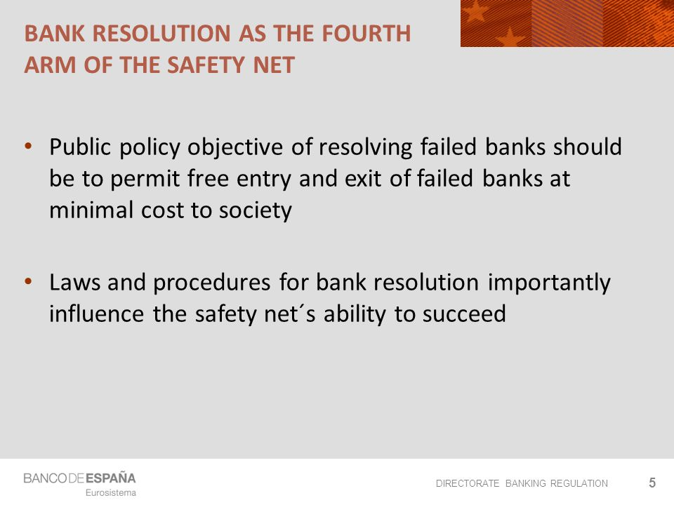 DIRECTORATE BANKING REGULATION BANK RESOLUTION AS THE FOURTH ARM OF THE SAFETY NET Public policy objective of resolving failed banks should be to permit free entry and exit of failed banks at minimal cost to society Laws and procedures for bank resolution importantly influence the safety net´s ability to succeed 5