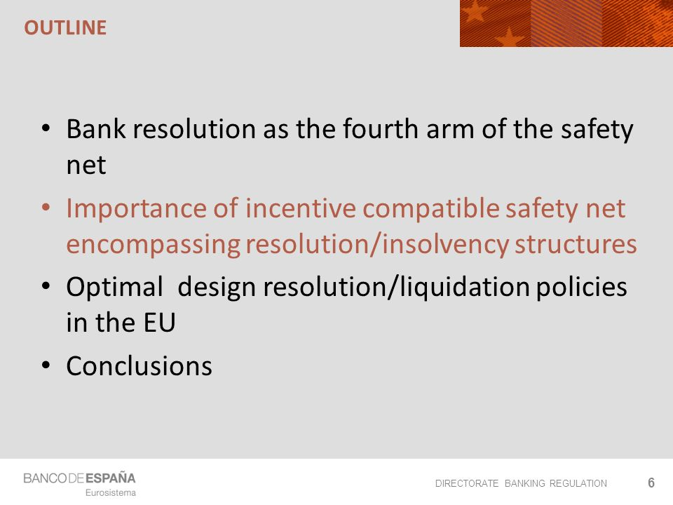 DIRECTORATE BANKING REGULATION OUTLINE 6 Bank resolution as the fourth arm of the safety net Importance of incentive compatible safety net encompassing resolution/insolvency structures Optimal design resolution/liquidation policies in the EU Conclusions