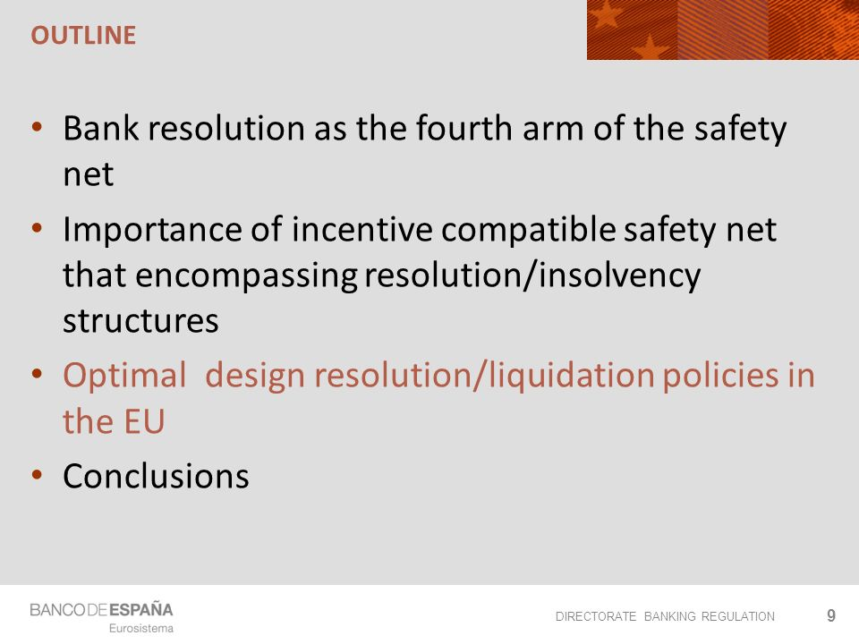 DIRECTORATE BANKING REGULATION OUTLINE Bank resolution as the fourth arm of the safety net Importance of incentive compatible safety net that encompassing resolution/insolvency structures Optimal design resolution/liquidation policies in the EU Conclusions 9
