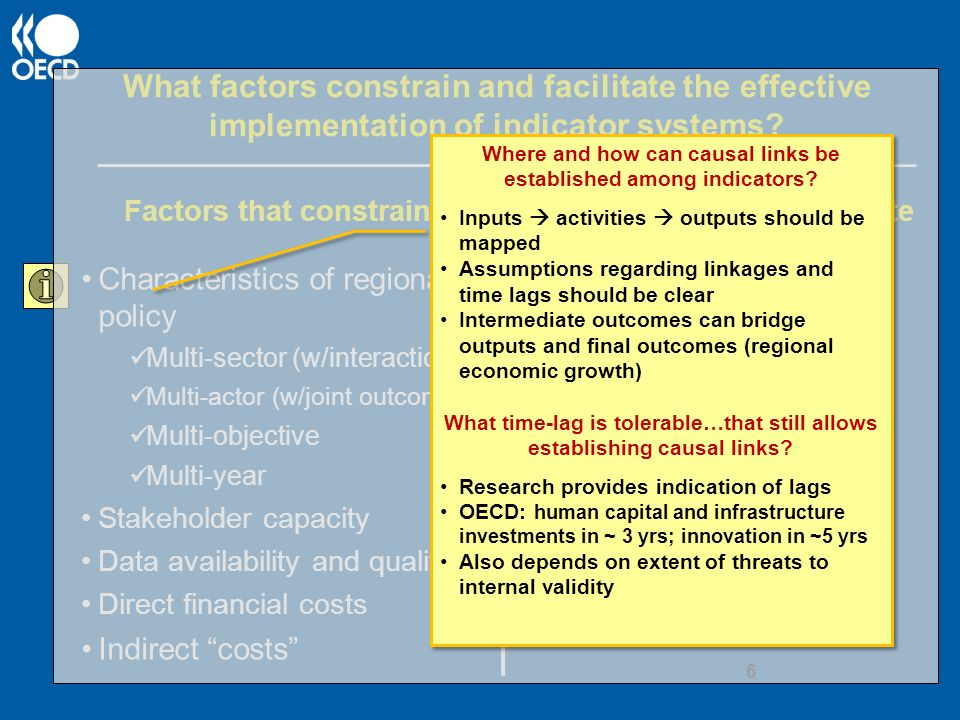 What factors constrain and facilitate the effective implementation of indicator systems.