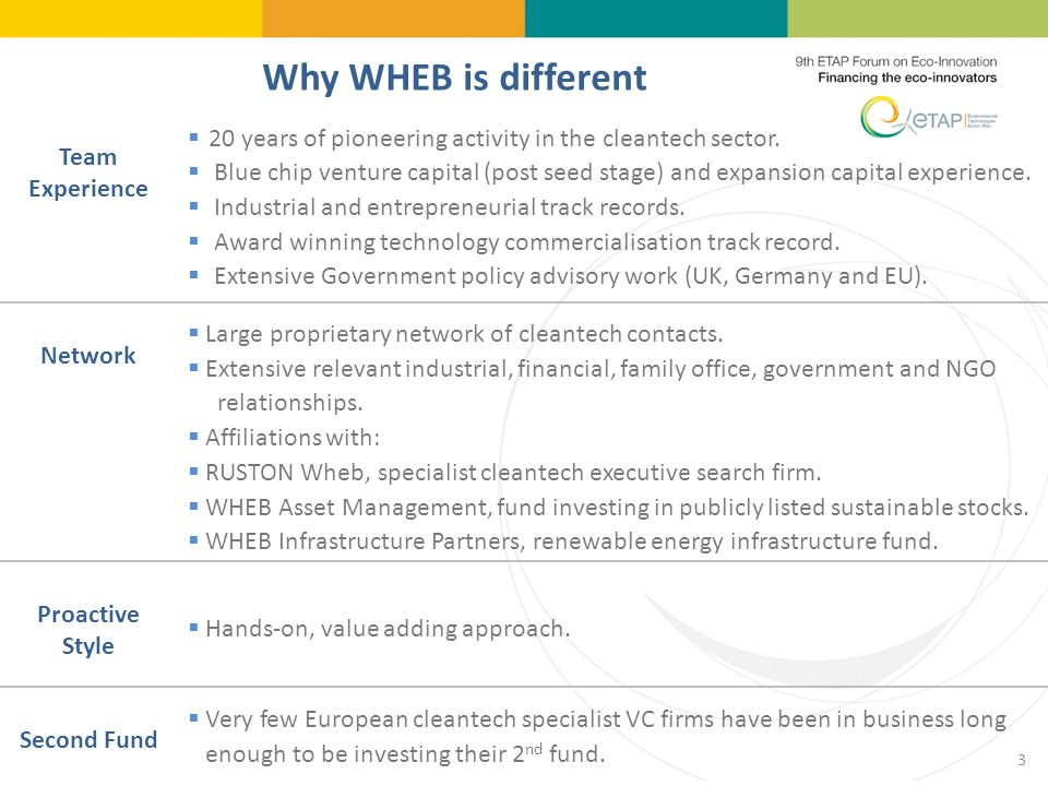 Why WHEB is different Team Experience 20 years of pioneering activity in the cleantech sector.