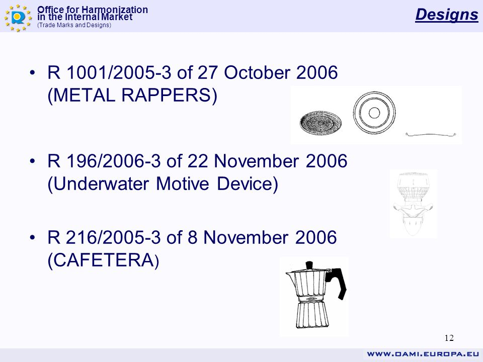 Office for Harmonization in the Internal Market (Trade Marks and Designs) 12 Designs R 1001/2005-3 of 27 October 2006 (METAL RAPPERS) R 196/2006-3 of 22 November 2006 (Underwater Motive Device) R 216/2005-3 of 8 November 2006 (CAFETERA )