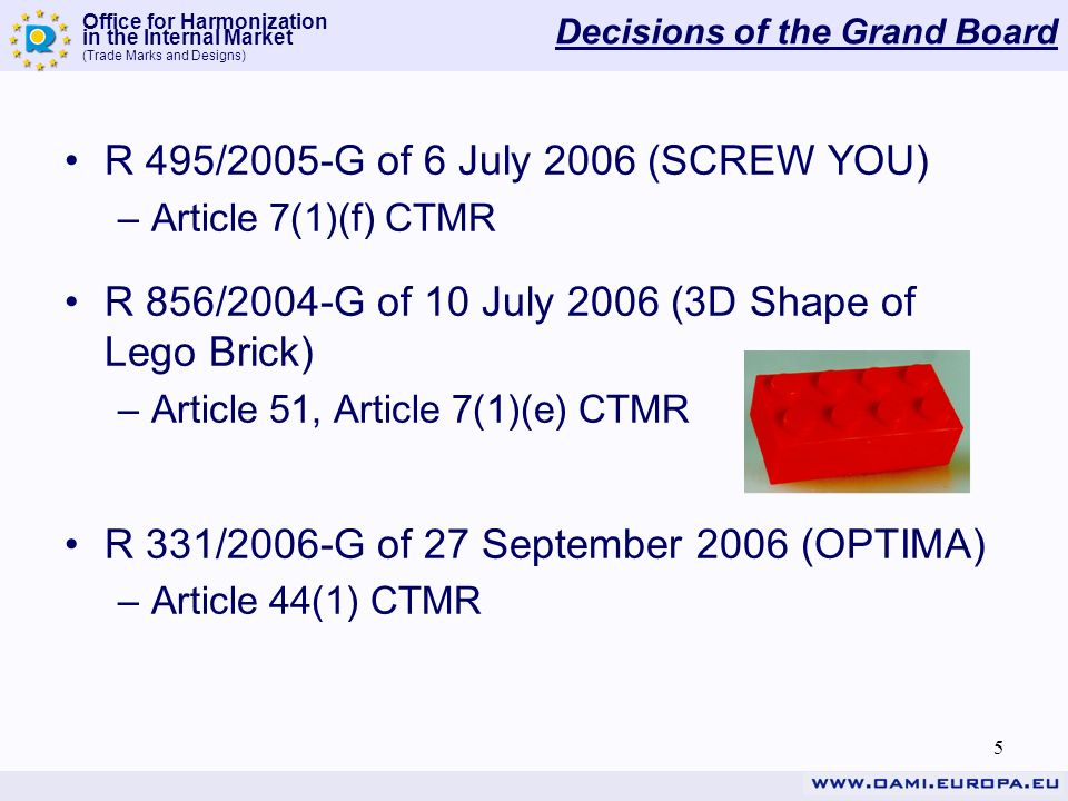Office for Harmonization in the Internal Market (Trade Marks and Designs) 5 Decisions of the Grand Board R 495/2005-G of 6 July 2006 (SCREW YOU) –Article 7(1)(f) CTMR R 856/2004-G of 10 July 2006 (3D Shape of Lego Brick) –Article 51, Article 7(1)(e) CTMR R 331/2006-G of 27 September 2006 (OPTIMA) –Article 44(1) CTMR