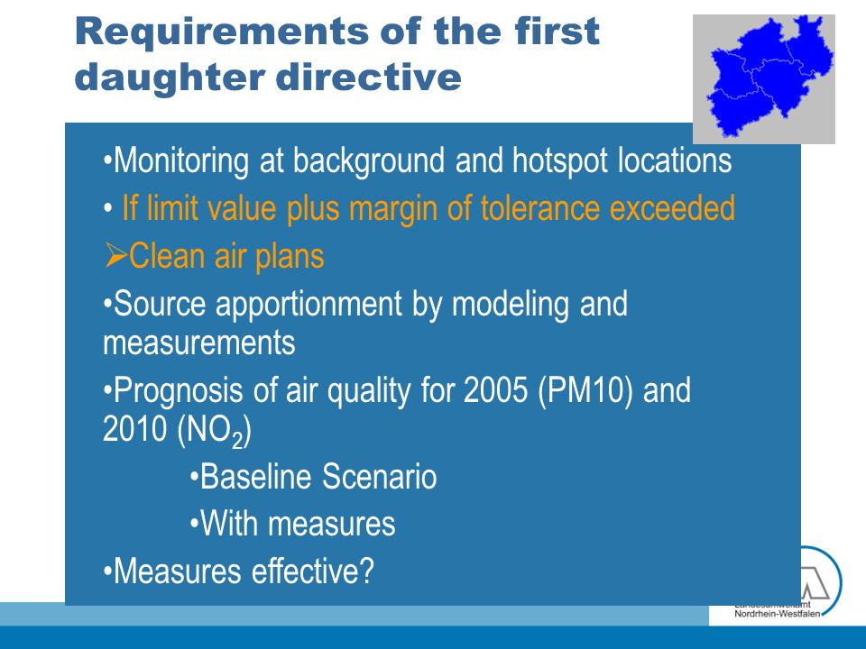 Requirements of the first daughter directive Monitoring at background and hotspot locations If limit value plus margin of tolerance exceeded Clean air plans Source apportionment by modeling and measurements Prognosis of air quality for 2005 (PM10) and 2010 (NO 2 ) Baseline Scenario With measures Measures effective