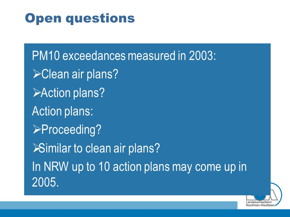 Open questions PM10 exceedances measured in 2003: Clean air plans.