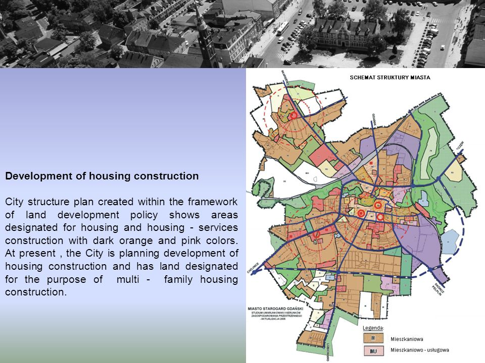 Development of housing construction City structure plan created within the framework of land development policy shows areas designated for housing and housing - services construction with dark orange and pink colors.