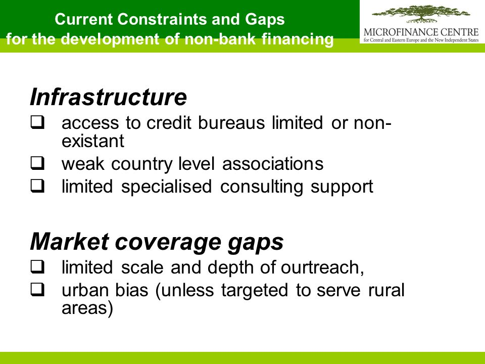 Current Constraints and Gaps for the development of non-bank financing Infrastructure access to credit bureaus limited or non- existant weak country level associations limited specialised consulting support Market coverage gaps limited scale and depth of ourtreach, urban bias (unless targeted to serve rural areas)