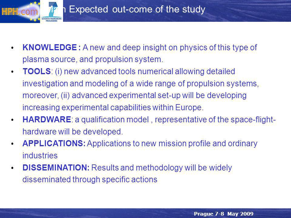 Prague 7-8 May 2009 KNOWLEDGE : A new and deep insight on physics of this type of plasma source, and propulsion system.