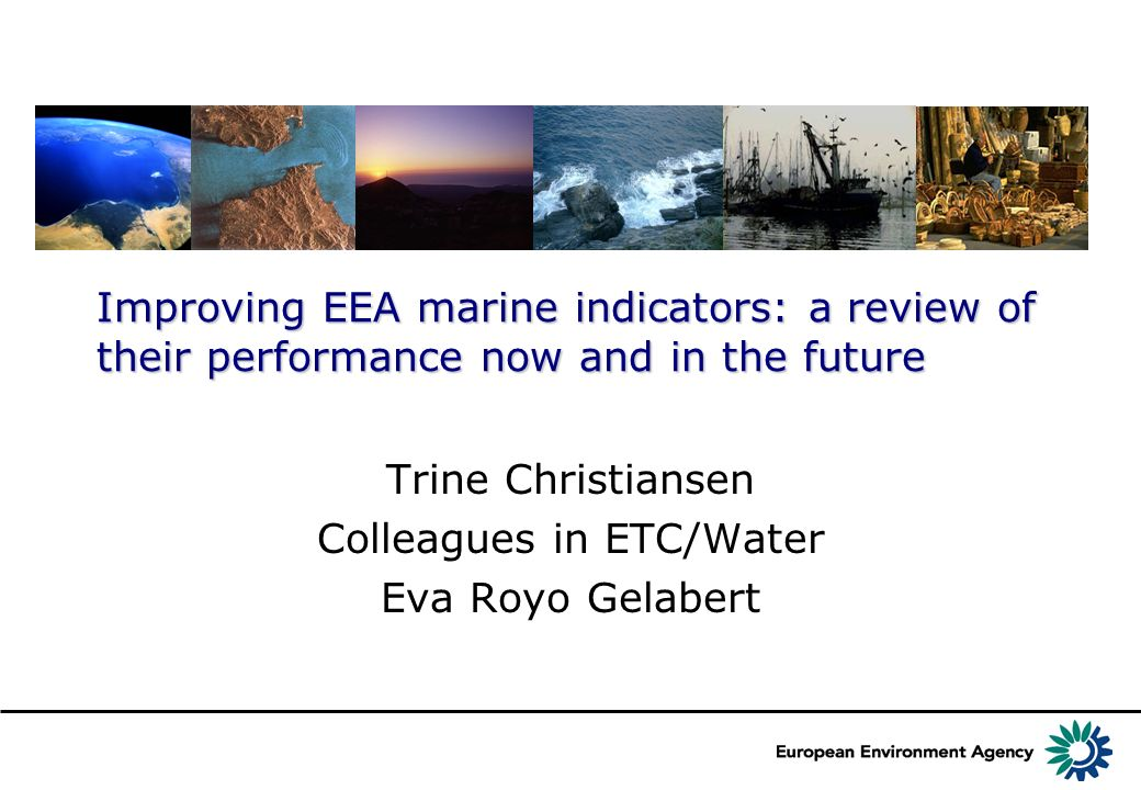 Improving EEA marine indicators: a review of their performance now and in the future Trine Christiansen Colleagues in ETC/Water Eva Royo Gelabert